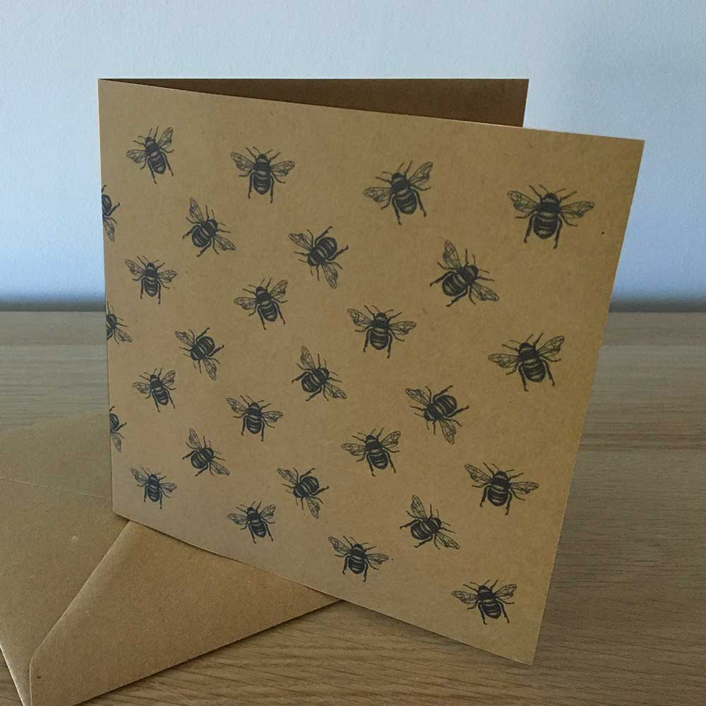 Recycled Greetings Cards Bees pattern greeting card