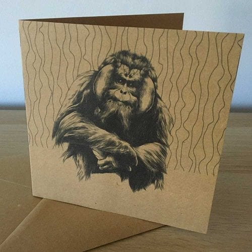 Orangutan eco greetings card