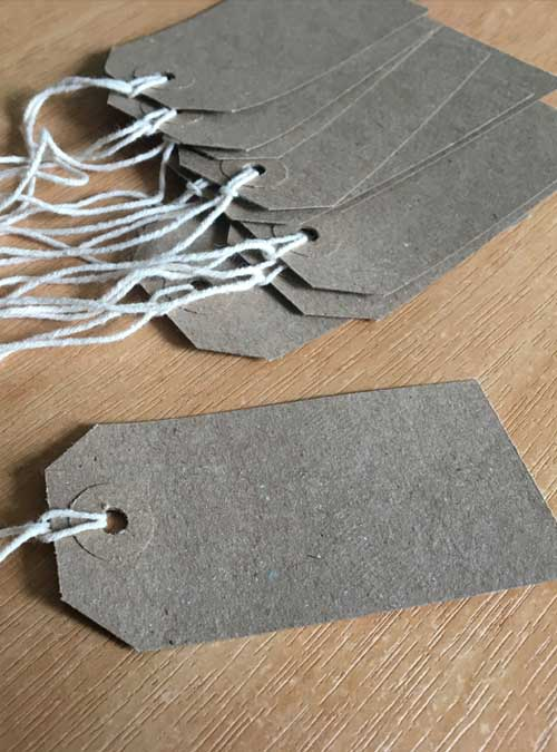 paper labels with string