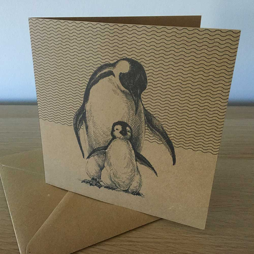 Recyclable penguins greeting card and envelope