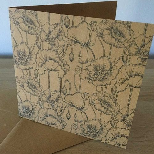 Recycled Greetings Cards Eco friendly Poppy greeting card
