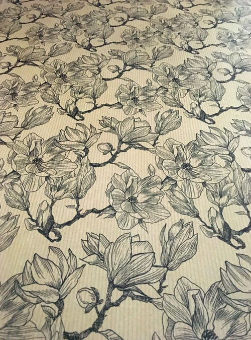 Recyclable magnolia gift wrap